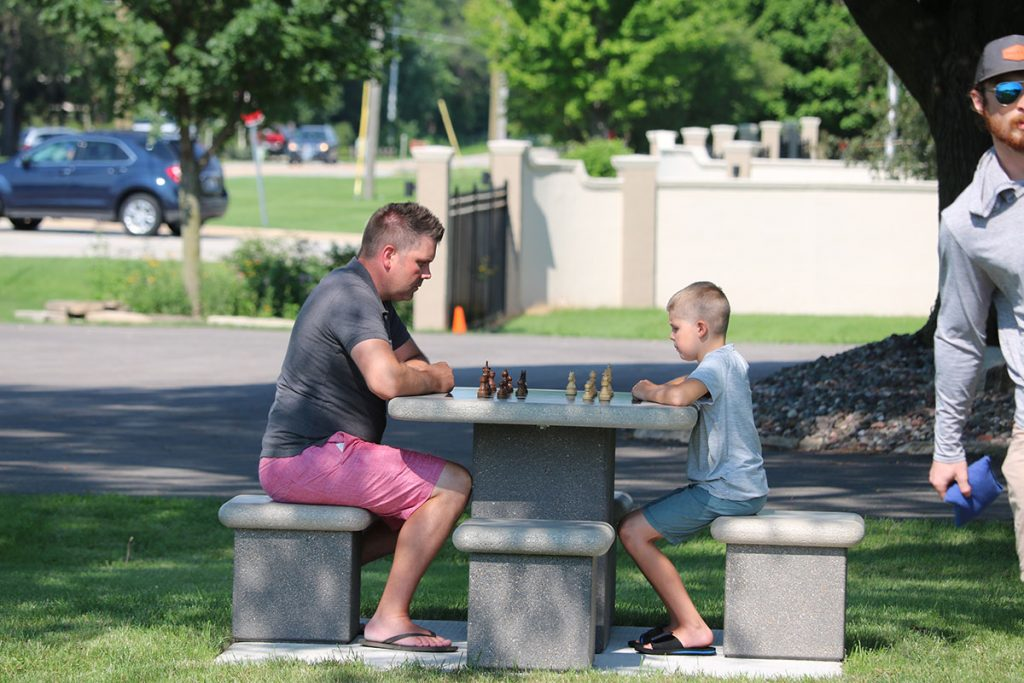 Outdoor concrete chess table