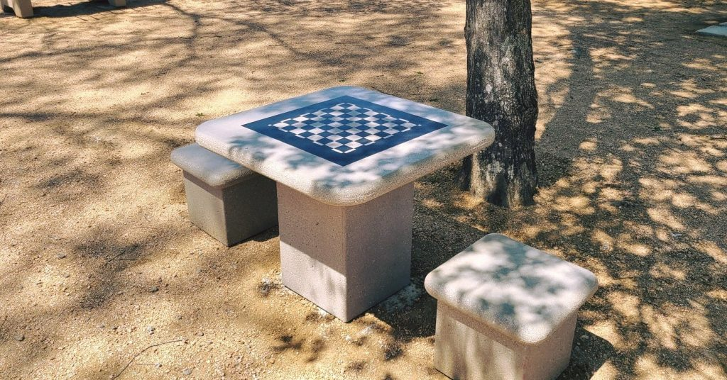 Campground game table set with checkerboard pattern applied.