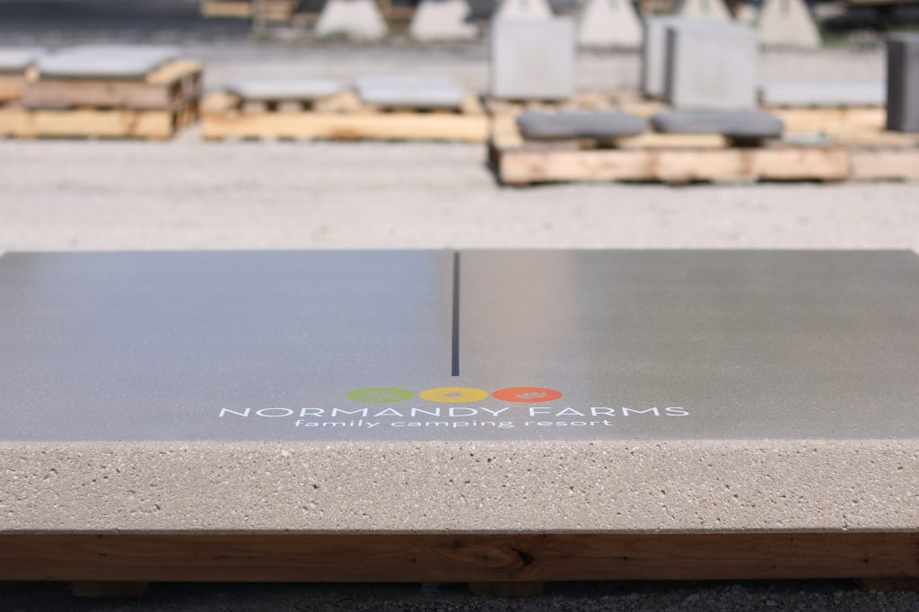 campground  concrete ping pong table top with logo